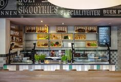 CiCO Canteen by studiomfd, Breda – Netherlands Visual Merchandising, Student Lunches, Smoothies, Food Counter, Food Retail, Counter Design, Restaurant Bar, Restaurant Interiors, Canteen