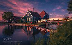 Zaanse Schans Holland. by remoscarfo  Colors Love Happy Clouds Historical Sunshine Zaanse Schans Holland Windmills Wallpaper Dutch Summer