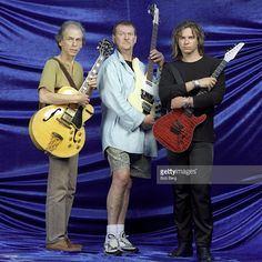 English progressive rock band Yes (L - R) lead guitarist Steve Howe, bassist Chris Squire and guitarist/keyboardist Billy Sherwood pose for a January 1999 portrait inUniversal City, California.