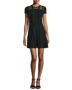 Short-Sleeve+Point+d\'Esprit-Inset+Dress,+Black+by+RED+Valentino+at+Neiman+Marcus.