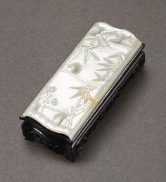 清十九世紀 白玉竹節式墨床