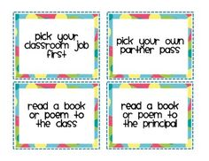 FREE Reward Coupons for Your Students - Stories by Storie - TeachersPayTeachers.com