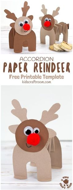 PRINTABLE ACCORDION PAPER REINDEER CRAFT - here's a fun printable reindeer kids can play with. This homemade paper reindeer toy has a simple but cleverly folded body that allows it to stand up and be walked along by little hands. The accordion folds work like a spring so the paper reindeer can bounce up and down on their bottoms! So much fun! A free printable reindeer craft. #reindeer #christmas #rudolf #papercrafts #printablecrafts #printables #kidscrafts #christmascrafts via @KidsCraftRoom