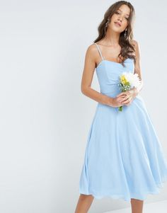 Buy TFNC Tall WEDDING Bandeau Chiffon Midi Prom Dress at ASOS. Get the latest trends with ASOS now. Blue Chiffon Dresses, Tall Dresses, Blue Midi Dress, Strapless Dress Formal, Prom Dresses, Summer Dresses, Formal Dresses, Dress Prom, Wedding Dresses