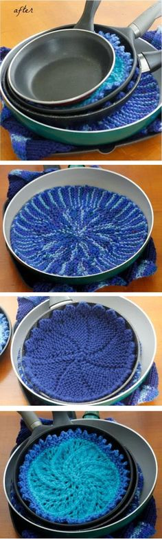 Free knitting patterns for Pan Protectors - Life Beyond the Kitchen had a great idea to replace paper or store bought protectors for stacked pans with knitted protectors. She offers 4 knitting patterns but you can make your own. You can even re-purpose leftover knitting swatches. Great stash buster!