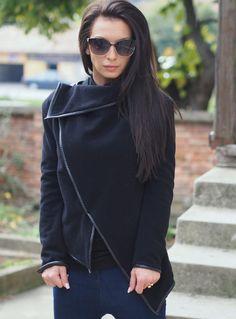 Black Asymmetric coat/cashmeere by NoLogicByAdrenaline on Etsy