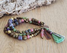 sat nam and om yoga bracelet  yoga jewelry  bohemian door OmSaha
