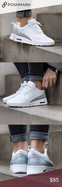 Nike White + Silver Air Max Thea Sneakers •Nike Air Max Thea sneakers in white with silver accents.  •Women's size 7, 7.5 an 8 available. Runs narrow.  •New in box, no lid.  •NO TRADES/HOLDS/PAYPAL/MERC/VINTED/NONSENSE. Nike Shoes Sneakers