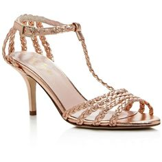 kate spade new york Sullivan Metallic Leather Braided High Heel... (€330) ❤ liked on Polyvore featuring shoes, sandals, rose gold, kate spade shoes, leather sandals, genuine leather shoes, metallic leather shoes and woven leather shoes