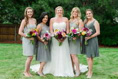 Mix and match neutral bridesmaids with colorful bouquets