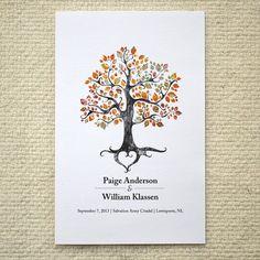 Fall / Autumn Wedding Ceremony Program / Order of Service - Rustic Woodland Tree - DIY Printable PDF Template - folded card - Orange on Etsy, $14.12