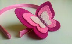 Bandeaux cheveux, Felt headband - Magenta and pink butterfly est une création orginale de dusi-ustvarja sur DaWanda