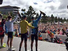 Cycling Australia @CyclingAus Today's winners salute the crowd with Cadel Evans for one last time #CadelRoadRace pic.twitter.com/JcokQgLw4x