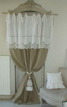 Magnifique rideau en linge ancien joliment travaillé et toile de lin 100% naturel : Textiles et tapis par mh-creations-rideaux
