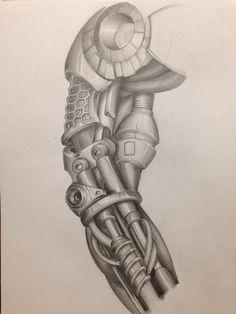 Tattoo Arm cyborg mechanic Biomechanic drawing