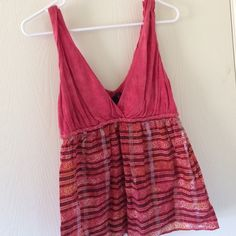 Red Baby Doll Empire Waist Tank Lucky Brand. Soft light red cotton on top. Bottom is a sheer fabric. Great tank to dress up or down! Size medium. In great condition! Lucky Brand Tops Tank Tops