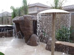 ideas for my future backyard water park . use 4 inch pvc and maybe old satillite dishes to make the mushroom curtains build-a-backyard-water-park. Re-thinking the idea of putting a pool in the backyard! Backyard Water Parks, Backyard Water Feature, Large Backyard, Backyard Ideas Kids, Backyard Lazy River, Backyard House, Pool Backyard, Tropical Backyard, Backyard Splash Pad