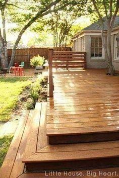 patio deck design ideas for your backyard 54 Deck Stain Colors, Deck Colors, Backyard Patio, Backyard Landscaping, Fachada Colonial, Patio Deck Designs, Deck Steps, Floating Deck, Concrete Steps