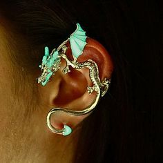 "Ear cuff DRAGON ""GLOW in the DARK"""
