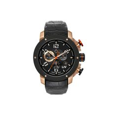 Liv Genesis X1 Rose Gold & Black IP Bezel Watch - Genuine Leather Stra – Tradewick