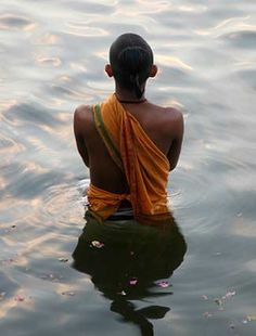 Hindu praying standing in the holy waters of the Ganges River -known as Ganga in India. Tibet, India Tour, Hindus, Varanasi, Incredible India, Pray, Beautiful People, Religion, The Incredibles