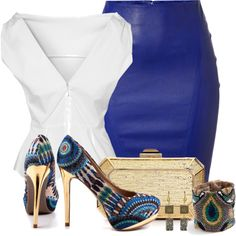 """outfit"" by michelerussell on Polyvore... I like mostly just the skirt and blouse"