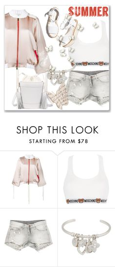 """""""Light Topping: Summer Bomber Jackets"""" by andrejae ❤ liked on Polyvore featuring Moschino, Sans Souci, Paloma Barceló, Henri Bendel, Sonia Rykiel and bomberjackets"""