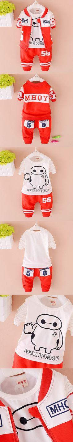 Kids Set 2016 Children Cloth Big Hero 6 3pcs Sets Long Sleeve Baby Boys Clothing Set Girls Baymax fashionable Kids Clothes Sets