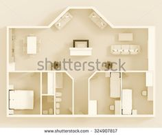 #Stock #photo: #3d #interior #rendering of #sepia #home #apartment with #furnishings #shutterstock