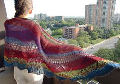 Crazy Colors SemiOval Shawl shl65 by AlpachHandMade on Etsy, $78.65