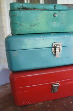 Vintage Tool Box Instant Collection Turquoise Blue Red Old Pal Airex Old Pal…