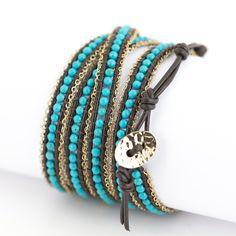 Stoere armband bruin leer, turquoise kralen van Nakamol