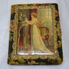 Antique Victorian Photo Album Velvet flowers, Celluloid & Paper Photo Holder EUC