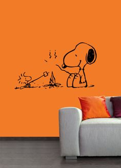 Campfire Snoopy vinyl wall art decal
