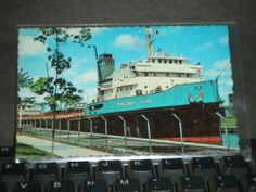 Great Lakes Ore Carrier GOLDEN HIND Naval Cover Unused Post Card SOO LOCKS, MICH