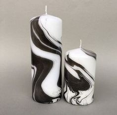 Image of Black/White Marbled Pillar Candle