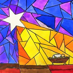 Middle school students will create a stunning stained glass Nativity art project with a star of light, on paper, honoring the birth of Jesus at Christmas. Middle school students will create a stunning stained glass Nativity art project with a Advent Art Projects, Christmas Art Projects, Winter Art Projects, Art Projects For Adults, Toddler Art Projects, Art Lessons For Kids, Art Lessons Elementary, Middle School Art Projects, Classroom Art Projects
