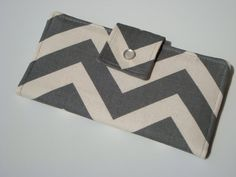 BiFold Long Wallet Clutch /Checkbook Cover - Gray and Neutral Chevron / Zig Zag on Etsy, $37.28 CAD