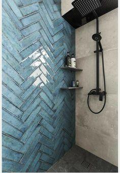 Dream Bathrooms, Beautiful Bathrooms, Small Bathroom, Master Bathroom, Bathroom Feature Wall Tile, Blue Bathrooms, Bathroom Tile Designs, Bathroom Interior Design, Bathroom Ideas