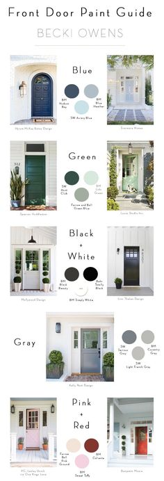Spring Curb Appeal: Painted Front Doors + Paint GuideBECKI OWENS Painting your front door is a quick and inexpensive way to change the look and feel of your exterior. Check out these beautiful door ideas + paint guide. Exterior Front Doors, House Paint Exterior, Exterior Paint Colors, Exterior House Colors, Paint Colors For Home, Exterior Design, Diy Exterior, Paint Colours, Front Entry