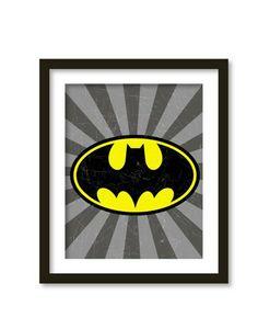 Super hero art, kids wall art, boys room decor, Batman, superheroes logos.