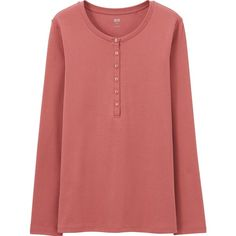 UNIQLO Women Supima Cotton Henley Neck Long Sleeve T ($15) ❤ liked on Polyvore featuring tops, t-shirts, longsleeve t shirts, uniqlo t shirts, wet look top, cotton tee and red tee