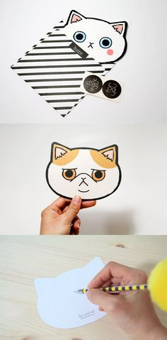 Mini Kitty Face Card Set