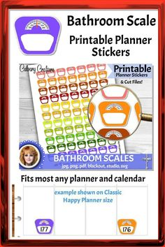 Printable planner stickers to track your weight or health progress #printableplannerstickers #plannerstickers #printablestickers #planner #planning #bathroomscale #weightloss #plannercommunity #planneraddicts