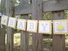 Bee Theme Baby Shower Yellow and Grey Baby by SharingAPassionINC