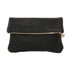 "Foldover pebble leather clutch zip closure. Gold hardware.11.5"" x 11.5"" Made in the USA. O/S. Color: Black Pebble"