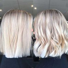 Bob Haircuts-14 Blonde Hair, Brown To Blonde Balayage, Hair Color Balayage, Ombre Hair Color, Cool Hair Color, Wavy Hair, Blunt Bob Hairstyles, Trendy Hairstyles, Hairstyles With Bangs