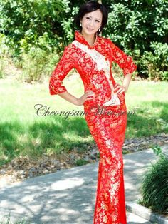Chinese wedding dress, elbow length sleeves