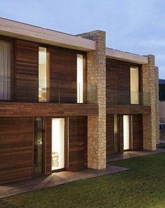 Fachadas de casas modernas con piedra natural