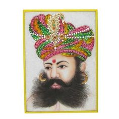 Indian Art Embossed Miniature Painting On Marble Plate Of The Indian Maharaja With A Turban: Amazon.co.uk: Kitchen & Home